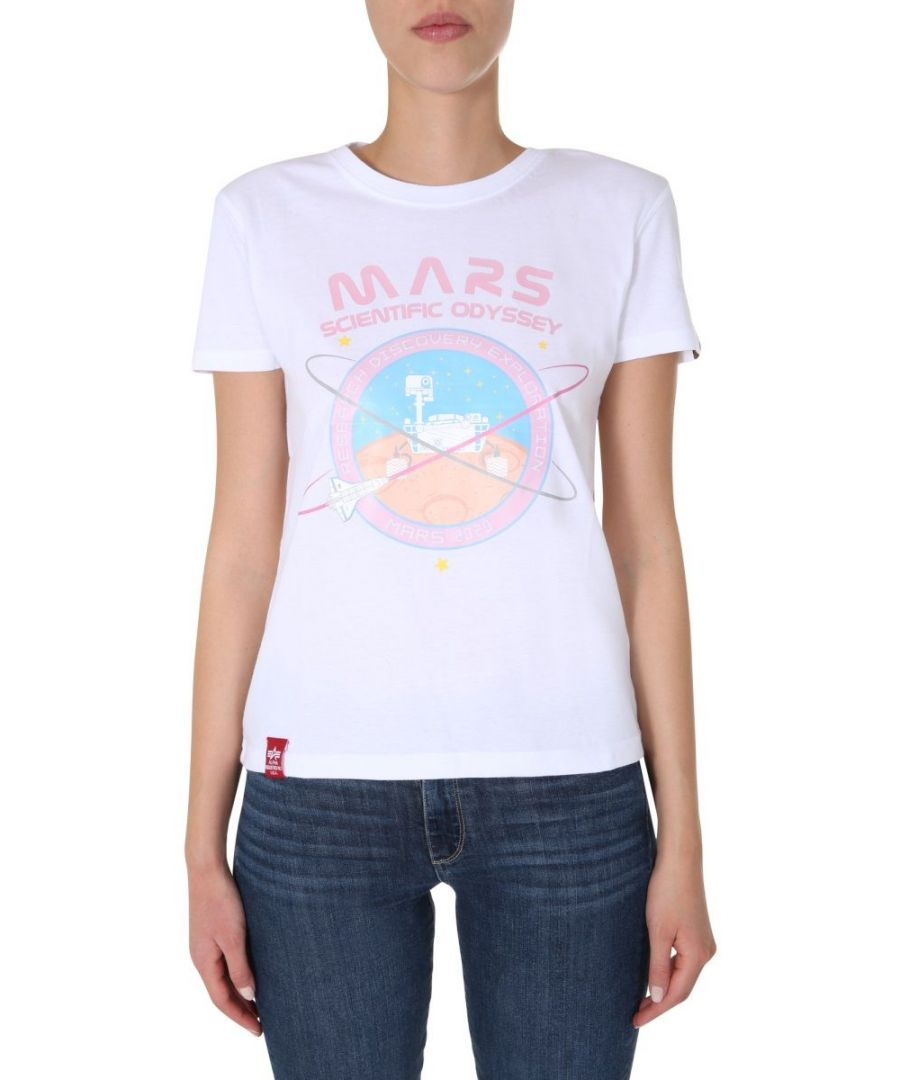 Image for ALPHA INDUSTRIES WOMEN'S 12606909 WHITE COTTON T-SHIRT
