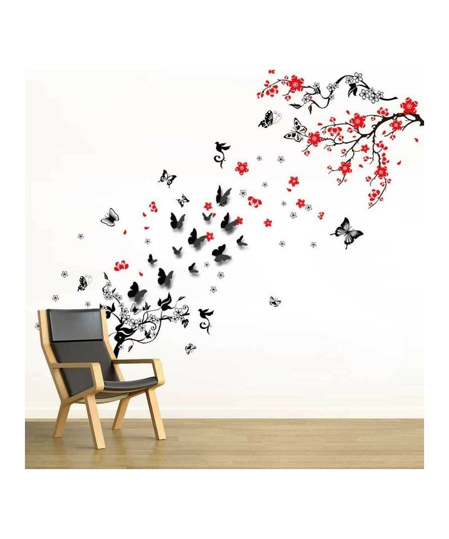 Image for Blossom Flower+Butter Vine+Walplus 3D Black, Peel and Stick, self-adhesive, Living Room Wall Sticker
