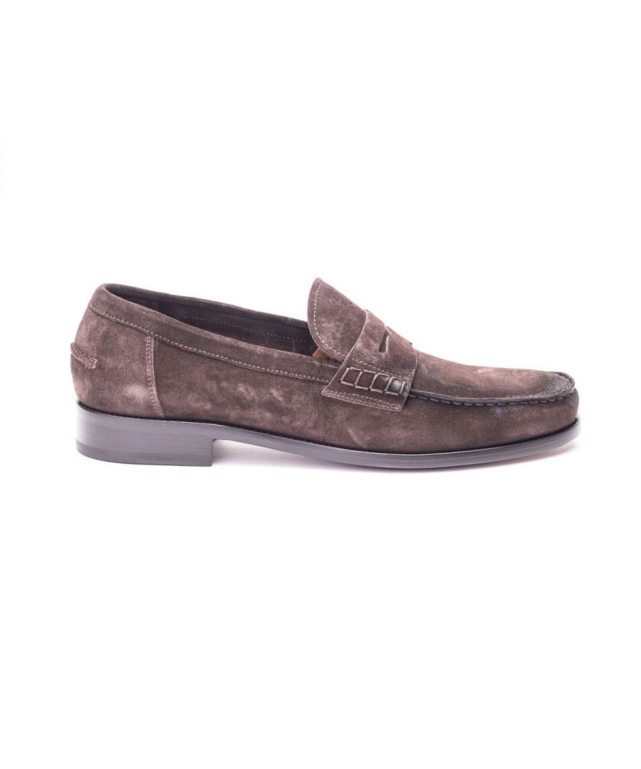 Image for DOUCAL'S MEN'S DU2616BELFUS054ATM00 BROWN SUEDE LOAFERS