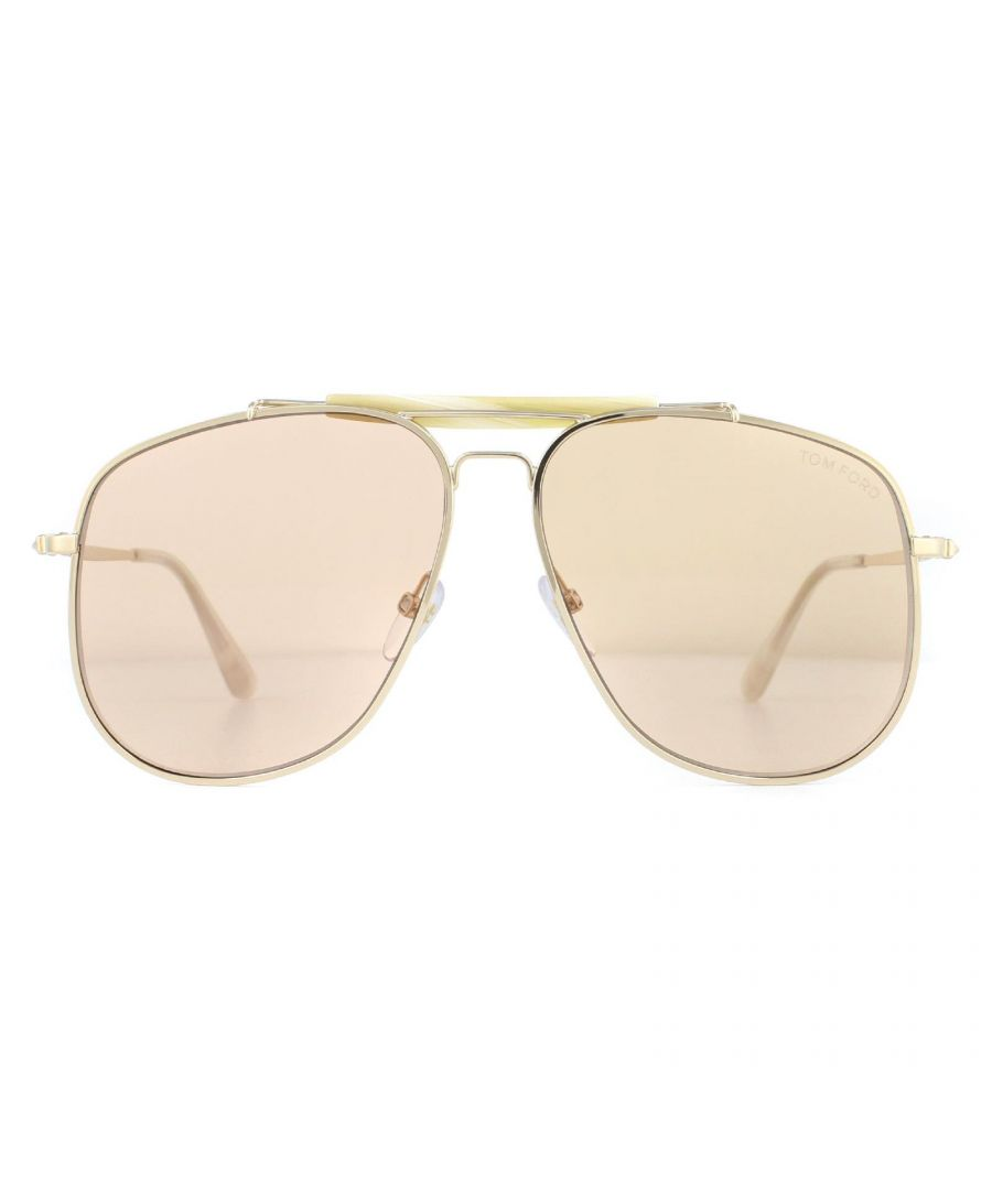Image for Tom Ford Sunglasses Connor FT0557 28Y Shiny Rose Gold Light Brown