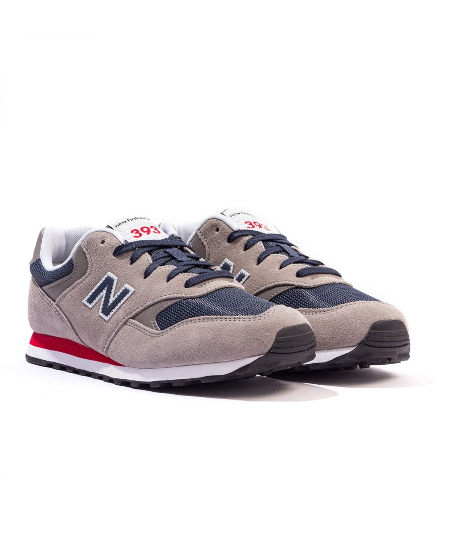 Image for New Balance 393 Suede & Mesh Trainers - Grey & Navy