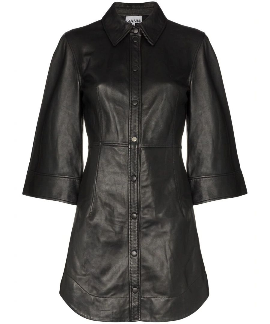 Image for GANNI WOMEN'S F4371099 BLACK LEATHER DRESS