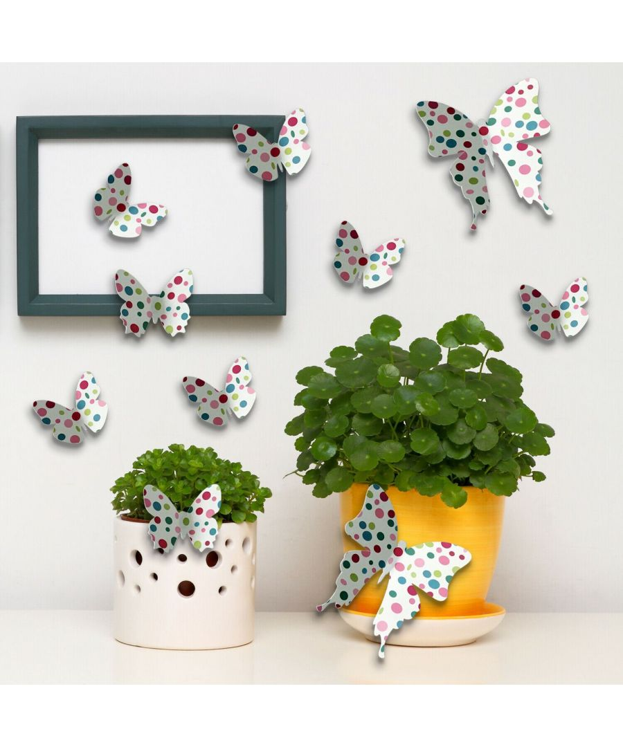 Image for Colour dots 3D Butterflies Wall Art, Kitchen, Bathroom, Living room, Self-adhesive, Decal, Decoration