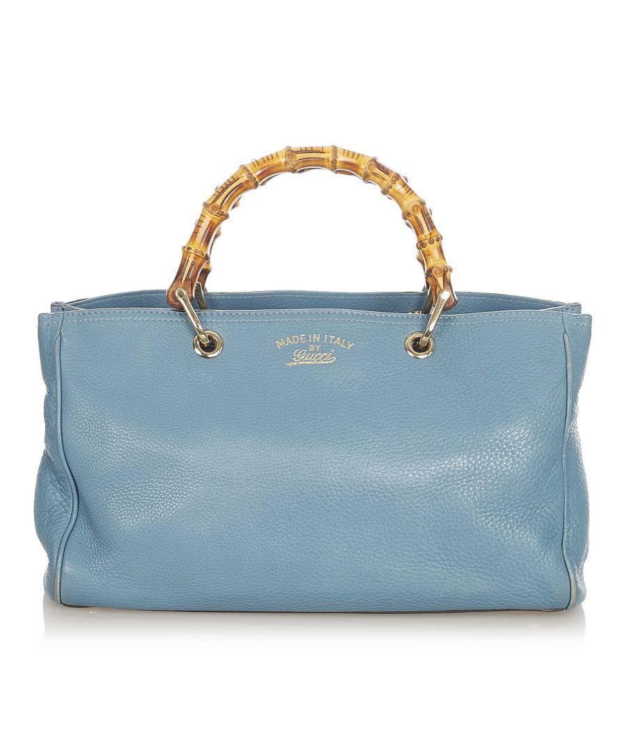 Image for Vintage Gucci Bamboo Shopper Leather Satchel Blue