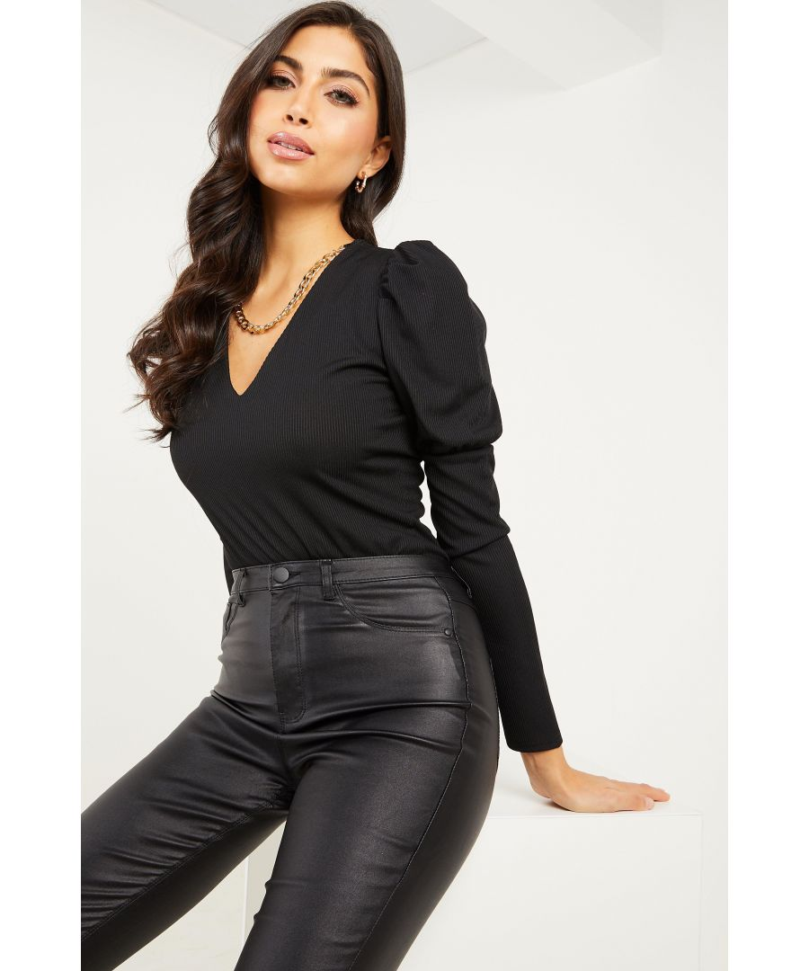 Image for Black Ribbed Puff Sleeve Chain Bodysuit