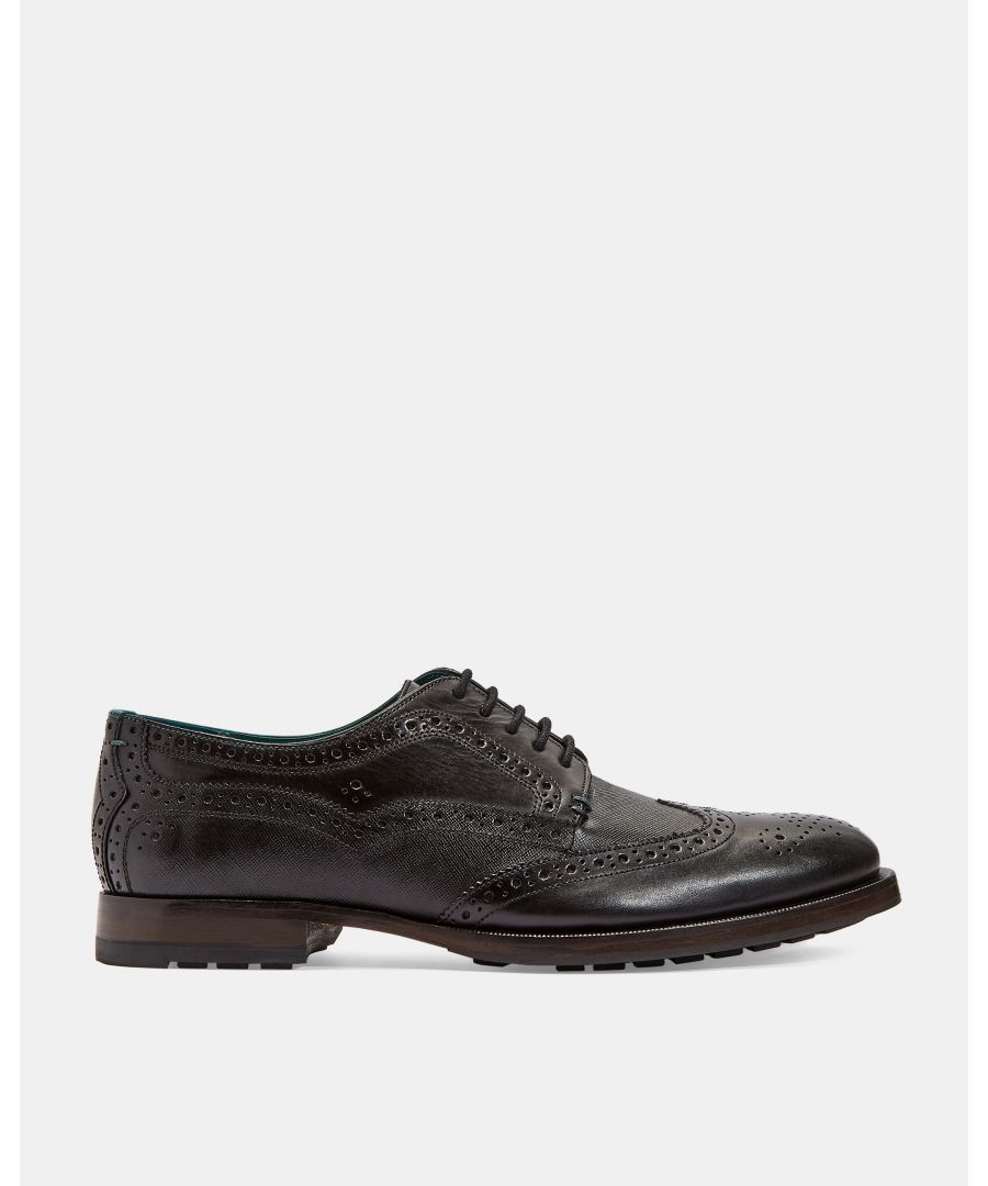 Image for Ted Baker Senape Classic Leather Brogue Derby, Black