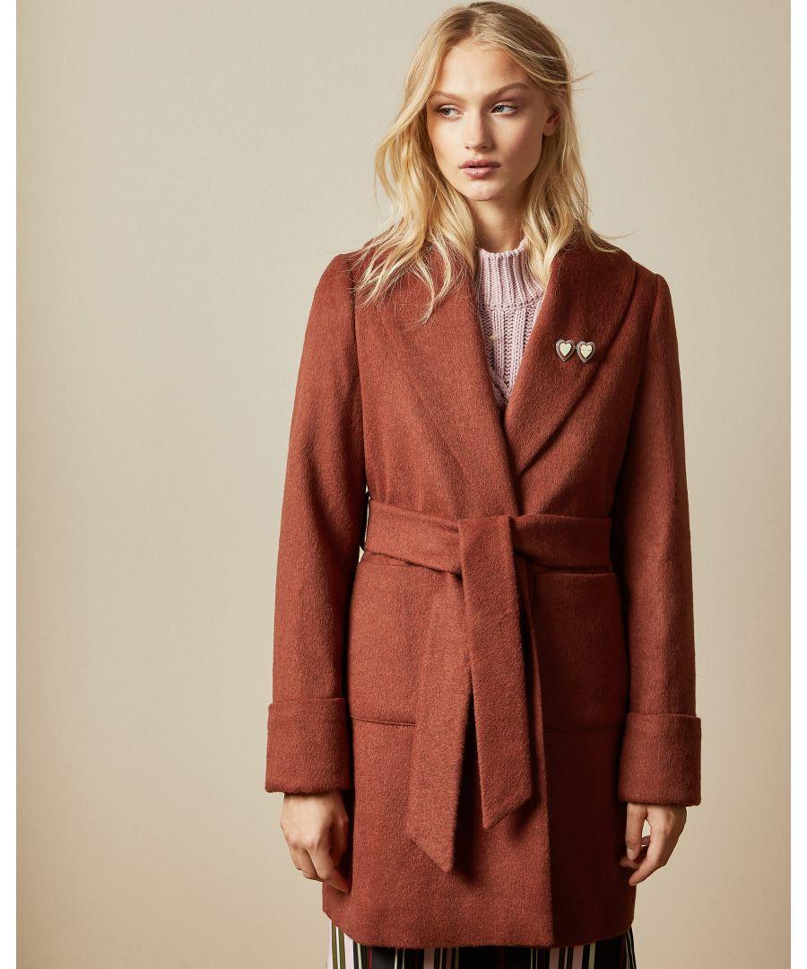 Image for Ted Baker Lozzie Cbn Short Wrap Coat, Orange