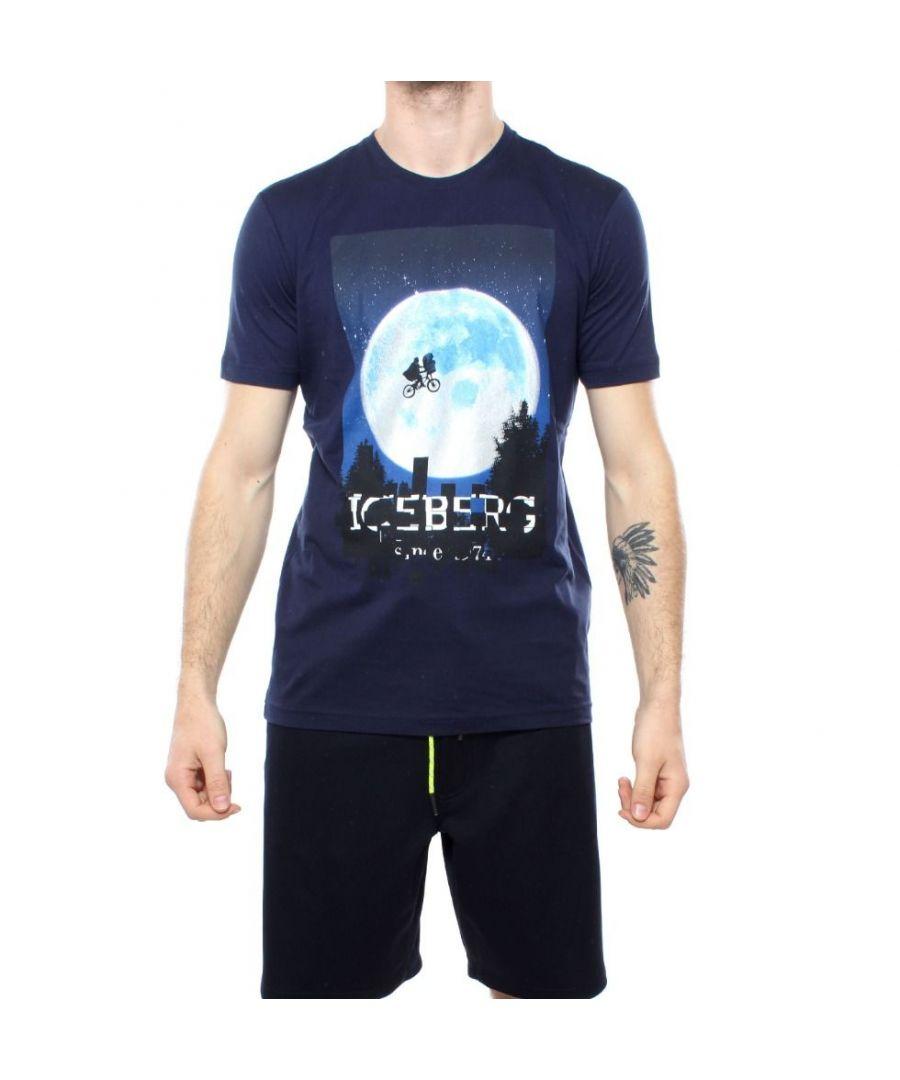 Image for ICEBERG MEN'S F02363016379 BLUE COTTON T-SHIRT
