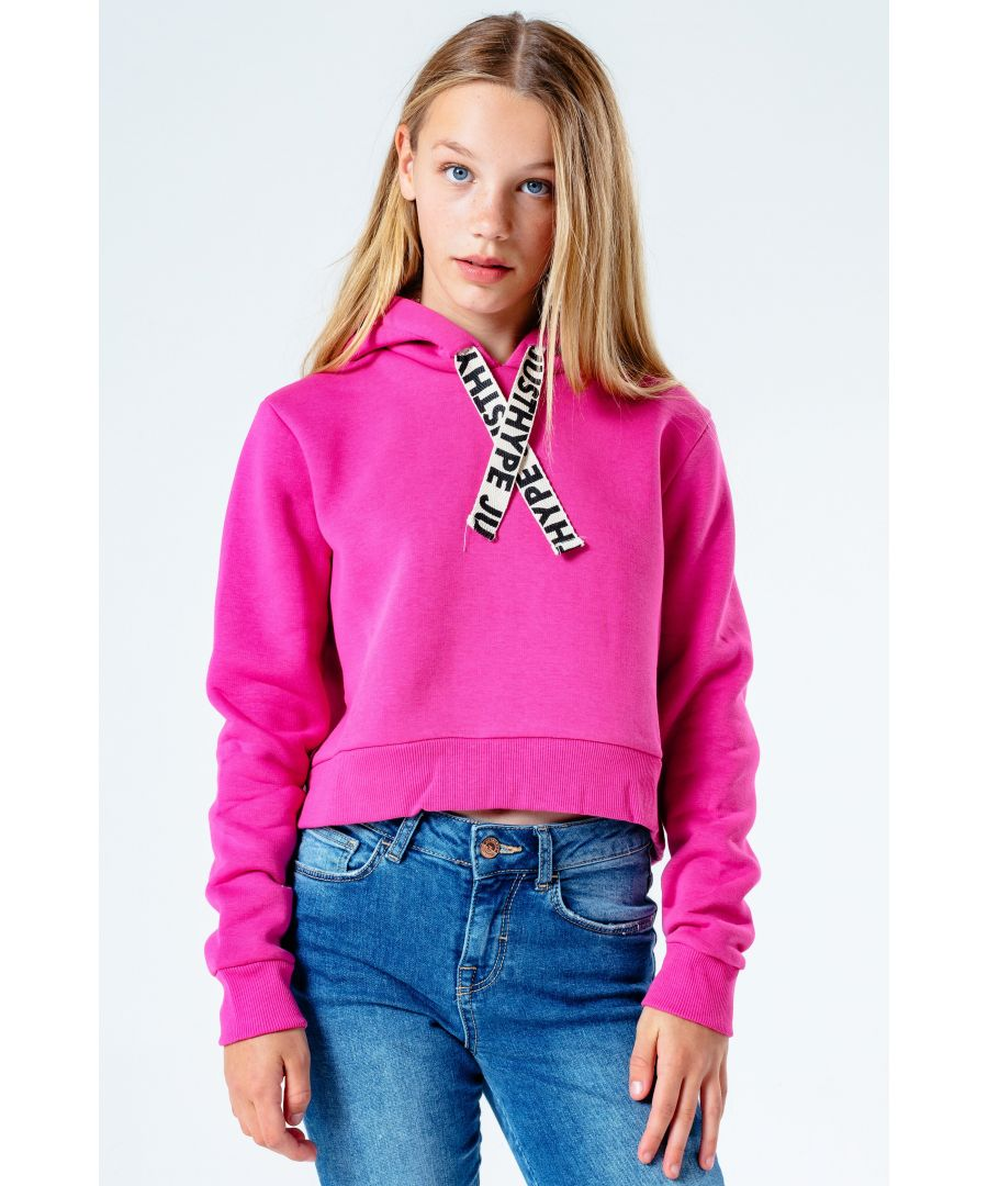 Image for Hype Pink Drawstring Kids Crop Pullover Hoodie