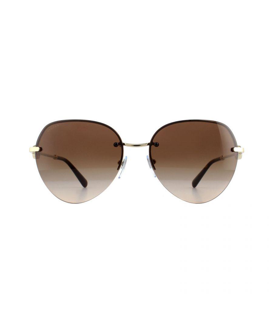 Image for Bvlgari Sunglasses BV6108 278/13 Pale Gold Brown Gradient