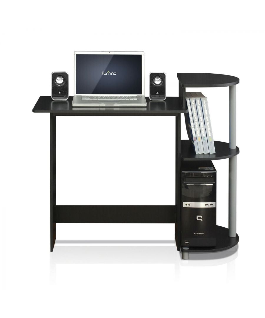 Image for Furinno Compact Computer Desk with Shelves - Black/Grey