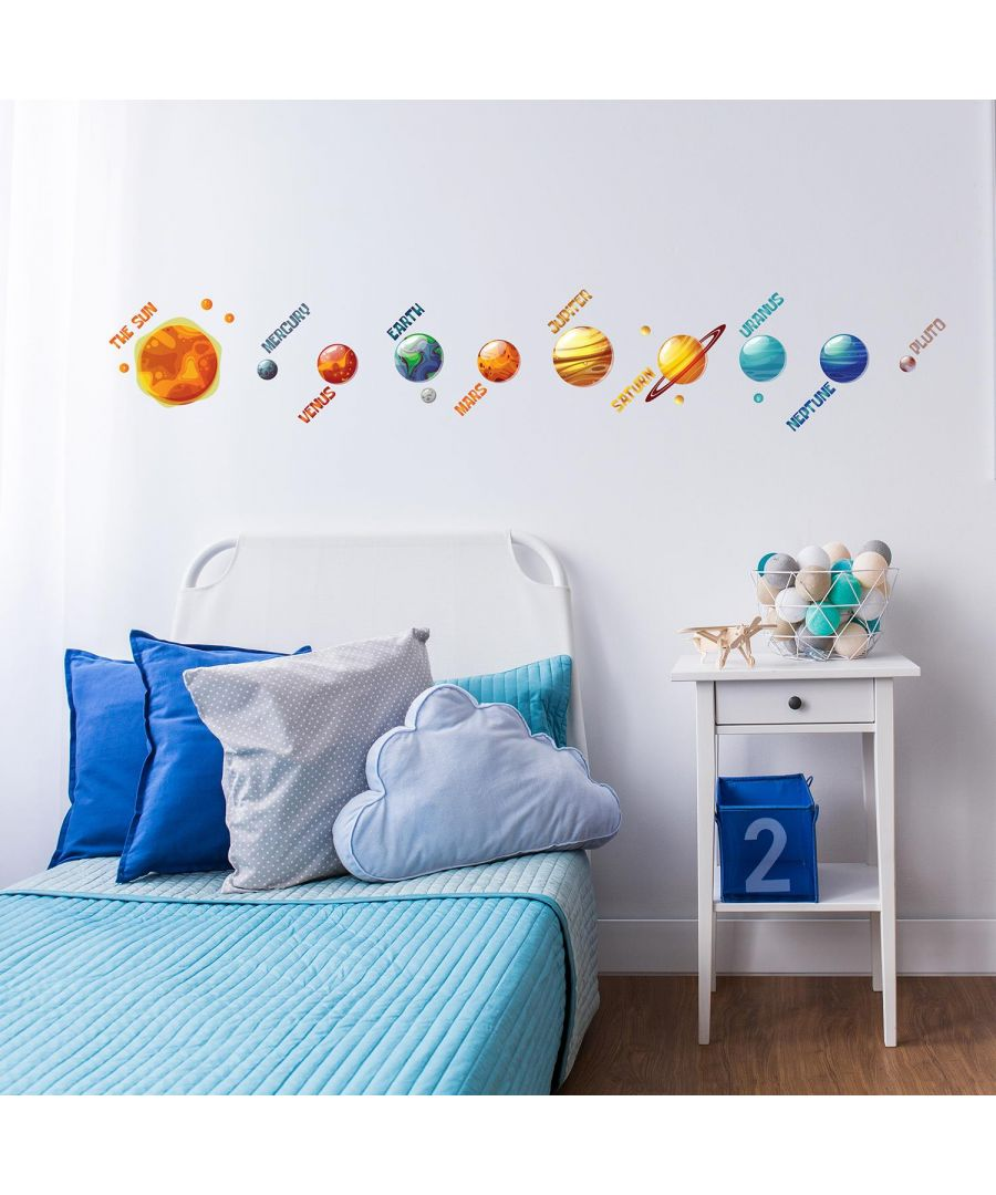 Image for Colourful Solar System Self Adhesive DIY Wall Stickers Kids Room, nursery, children's room, boy, girl