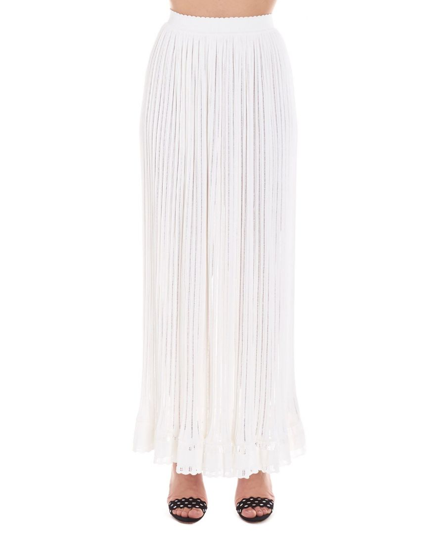 Image for ALAÏA WOMEN'S 9S9JE14LM460C000 WHITE VISCOSE SKIRT