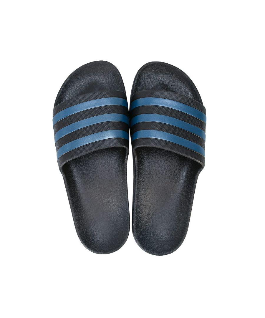 Image for Men's adidas Adilette Aqua Slide Sandals in black blue