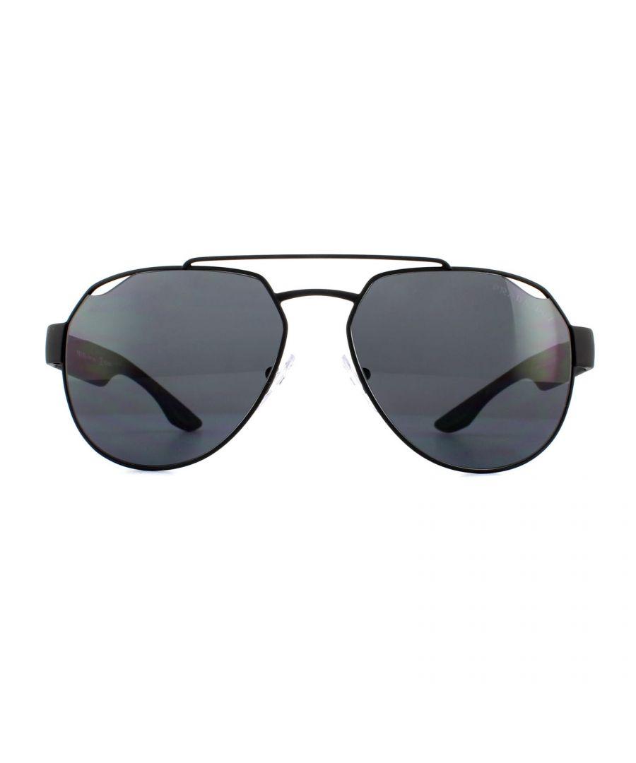 Image for Prada Sport Sunglasses PS57US DG05Z1 Black Rubber Grey Polarized