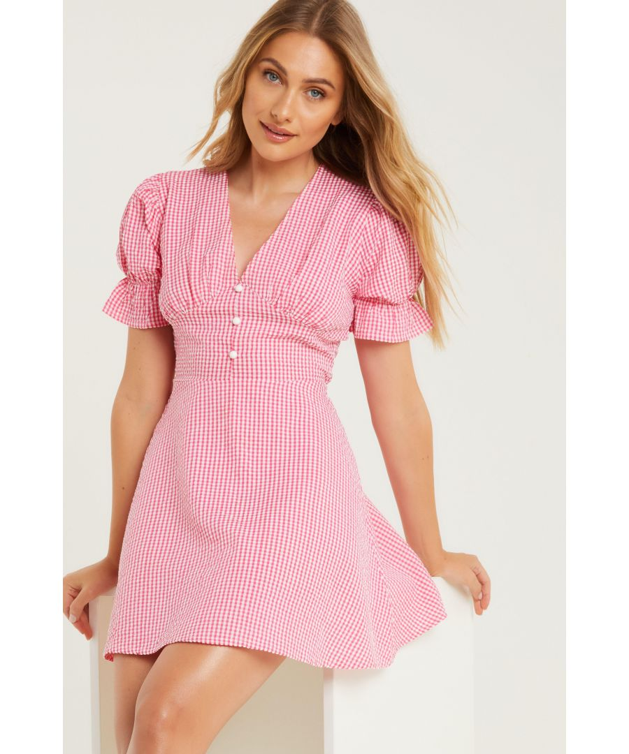 Image for Pink Gingham Puff Sleeve Skater Dress