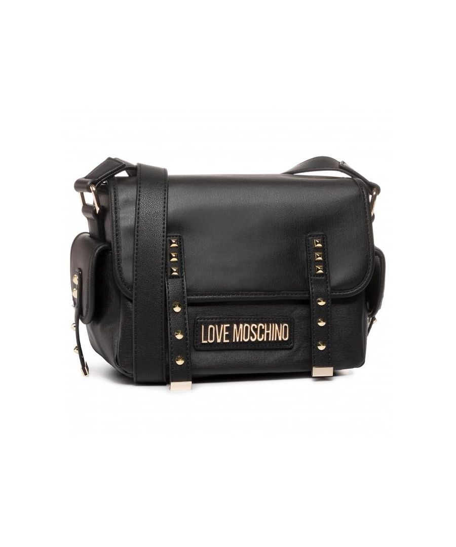 Image for Love Moschino Studded Crossbody Bag with Side Pockets in Black
