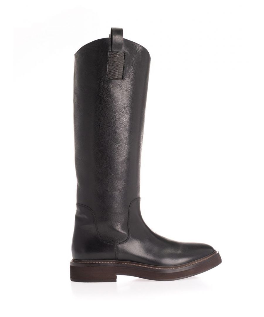 Image for BRUNELLO CUCINELLI WOMEN'S MZSEG1608C101 BLACK LEATHER BOOTS