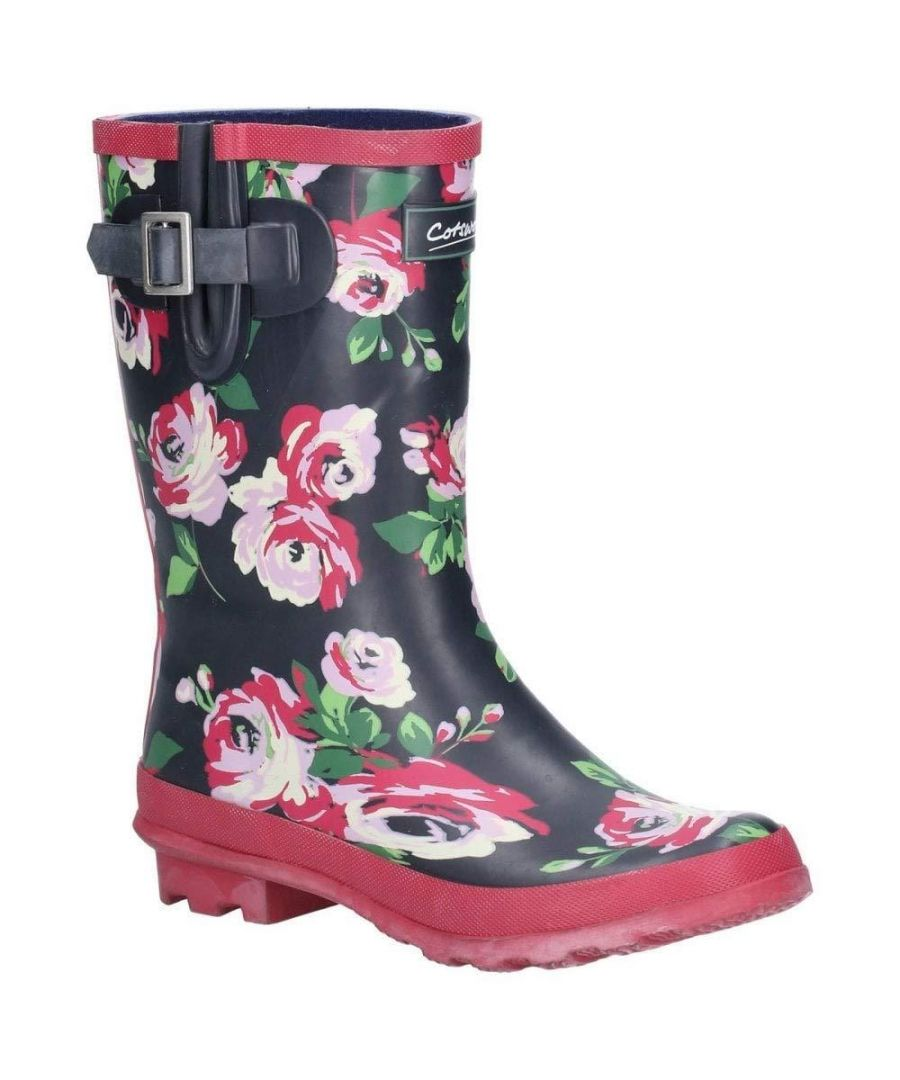 Image for Cotswold Womens/Ladies Paxford Elasticated Mid Calf Wellington Boot (Black/Flower)