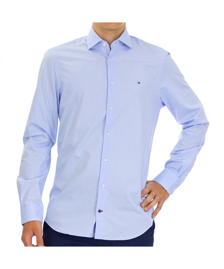Image for Tommy Hilfiger Men's Shirt Dobby Slim Fit Full Sleeve Blue
