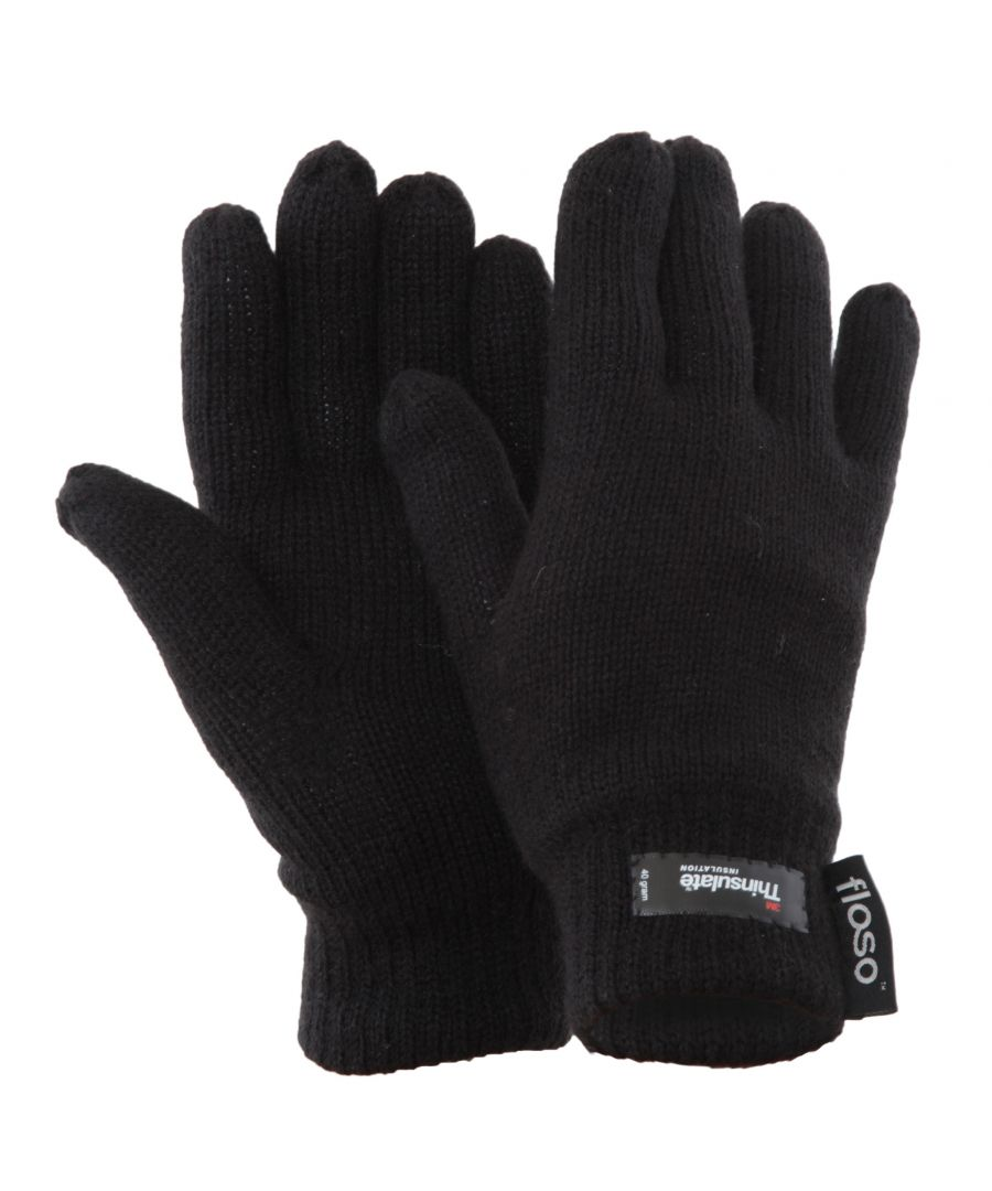 Image for FLOSO Ladies/Womens Thinsulate Thermal Knitted Gloves (3M 40g) (Black)