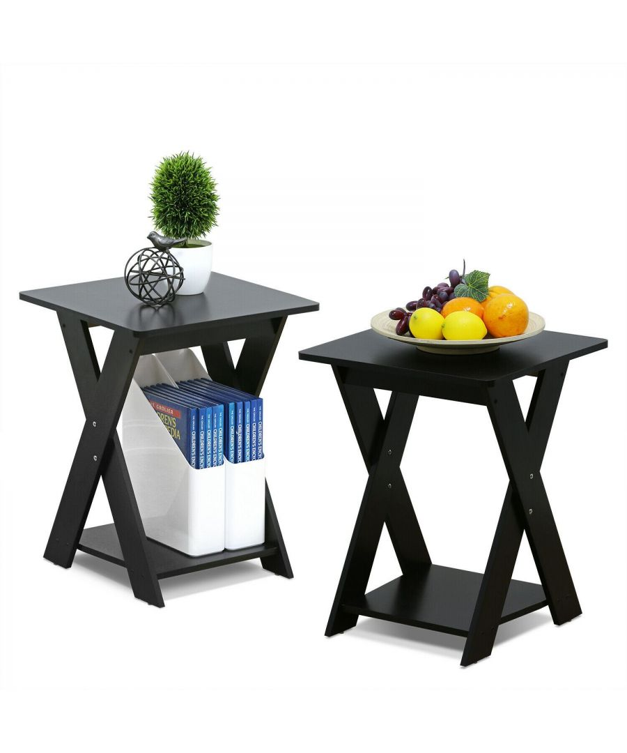 Image for Furinno Modern Simplistic Criss-Crossed End Table,Espresso, Set of 2