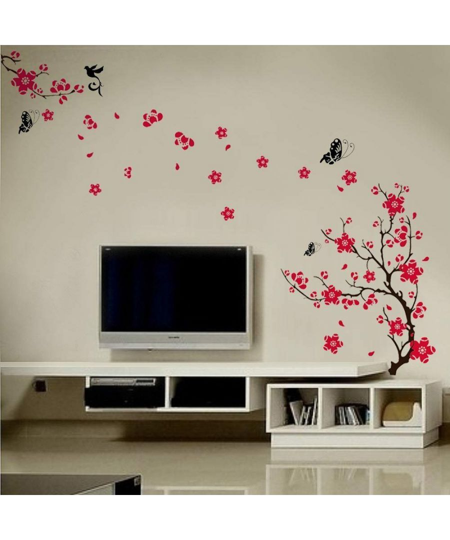 Image for Pink Blossom Flowers Wall Decorations Self-adhesive DIY Wall Stickers