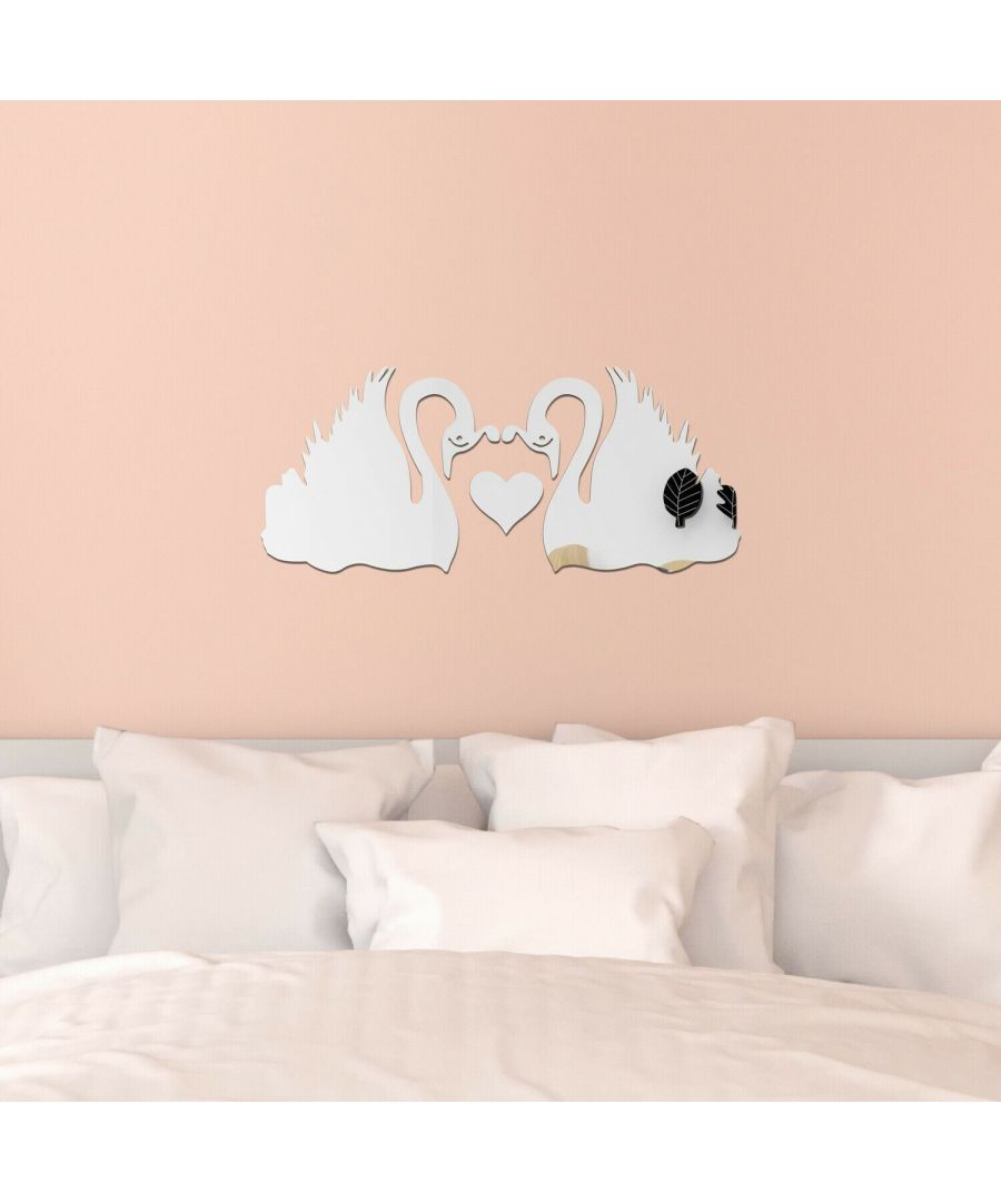 Image for Romantic Swans Couple Lover Heart Mirror Wall Art  Self adhesive,DIY Wall Art, Wall Art Living Room, Mirror Wall Art