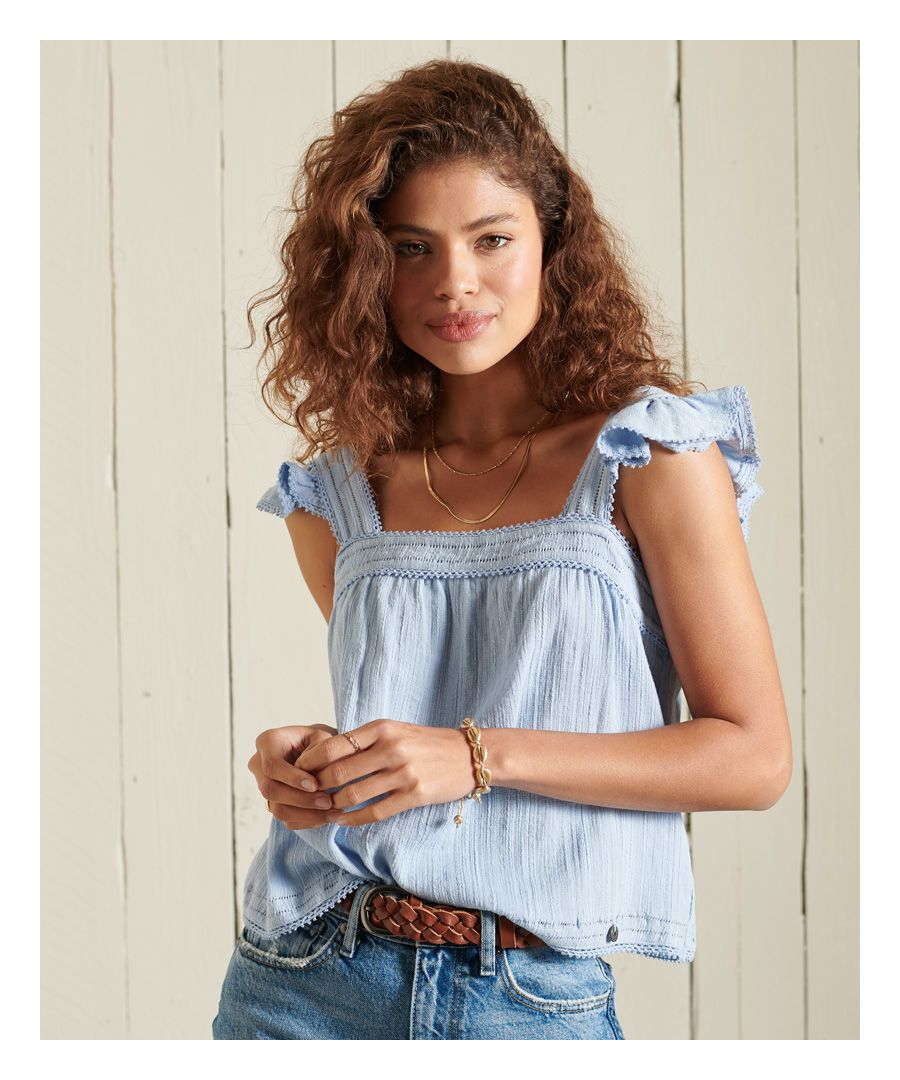 Image for SUPERDRY Layne Textured Lace Top