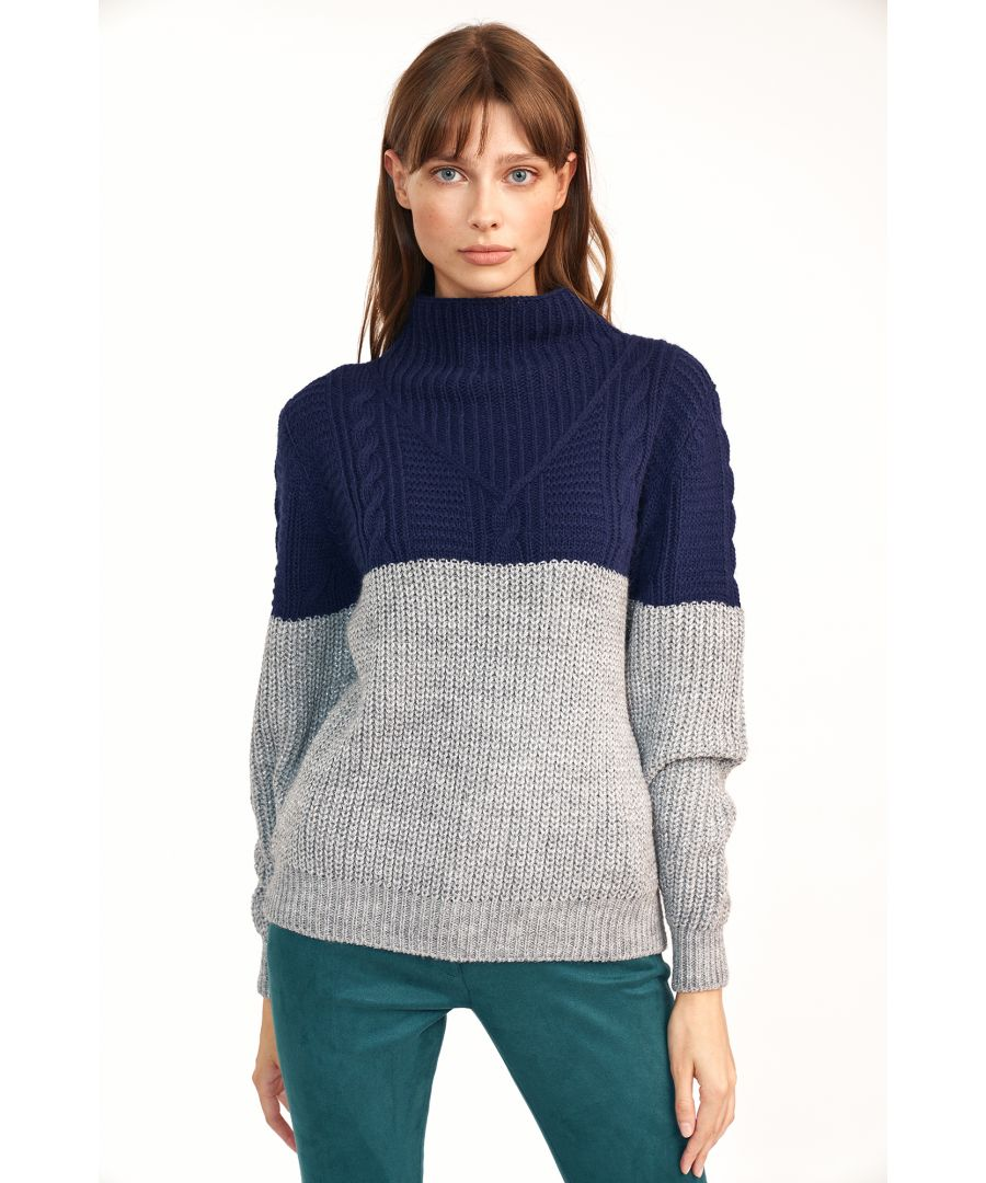 Image for Loosely fitted sweater in double colour
