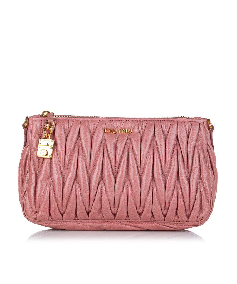 Image for Vintage Miu Miu Matelasse Leather Baguette Pink
