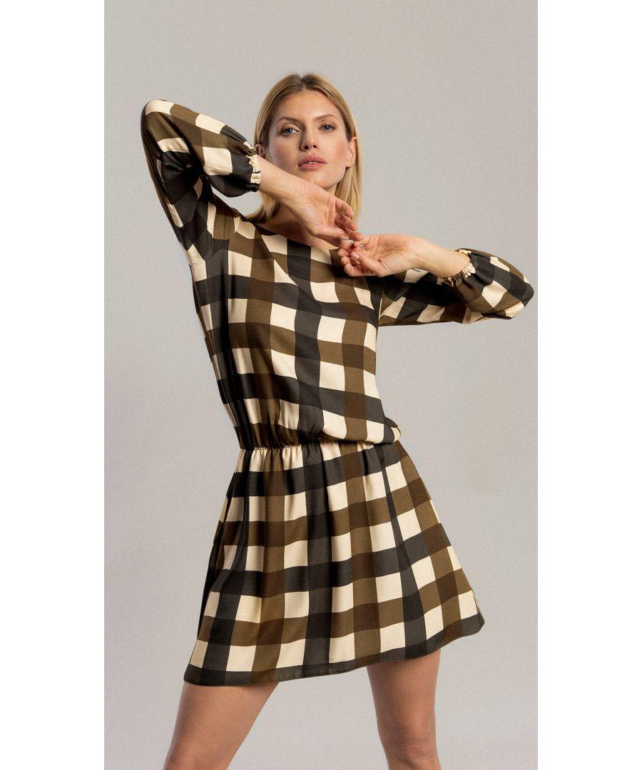 Image for Aster Khaki Grid Dress