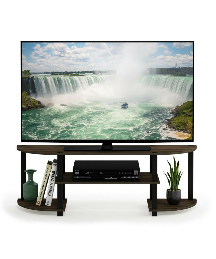 Image for Furinno Turn-S-Tube Wide TV Entertainment Center, Columbia Walnut/Black