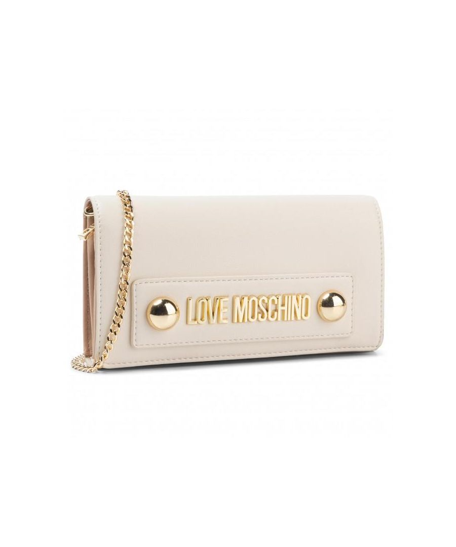 Image for Love Moschino Zip Around Wallet with Dome Studs and Chain in Beige
