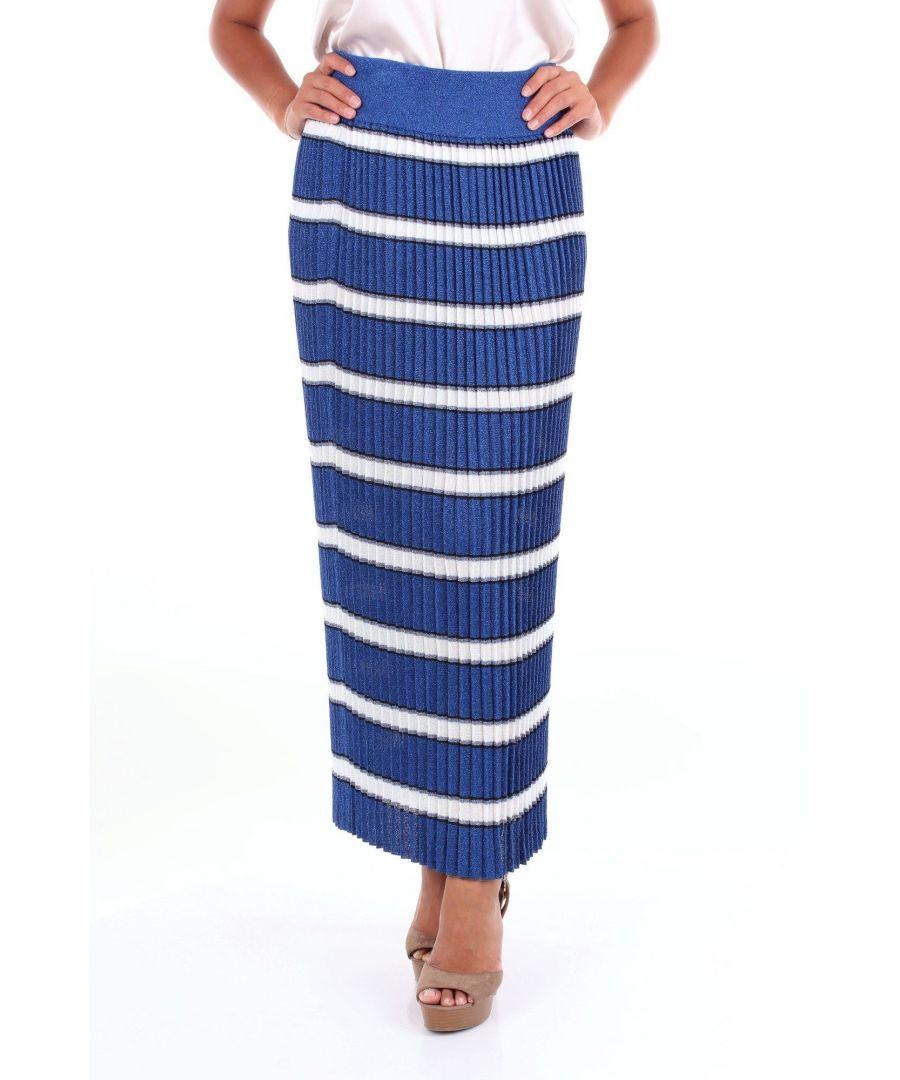 Image for ALTEA WOMEN'S 1951531BLUEBIANCO BLUE VISCOSE SKIRT