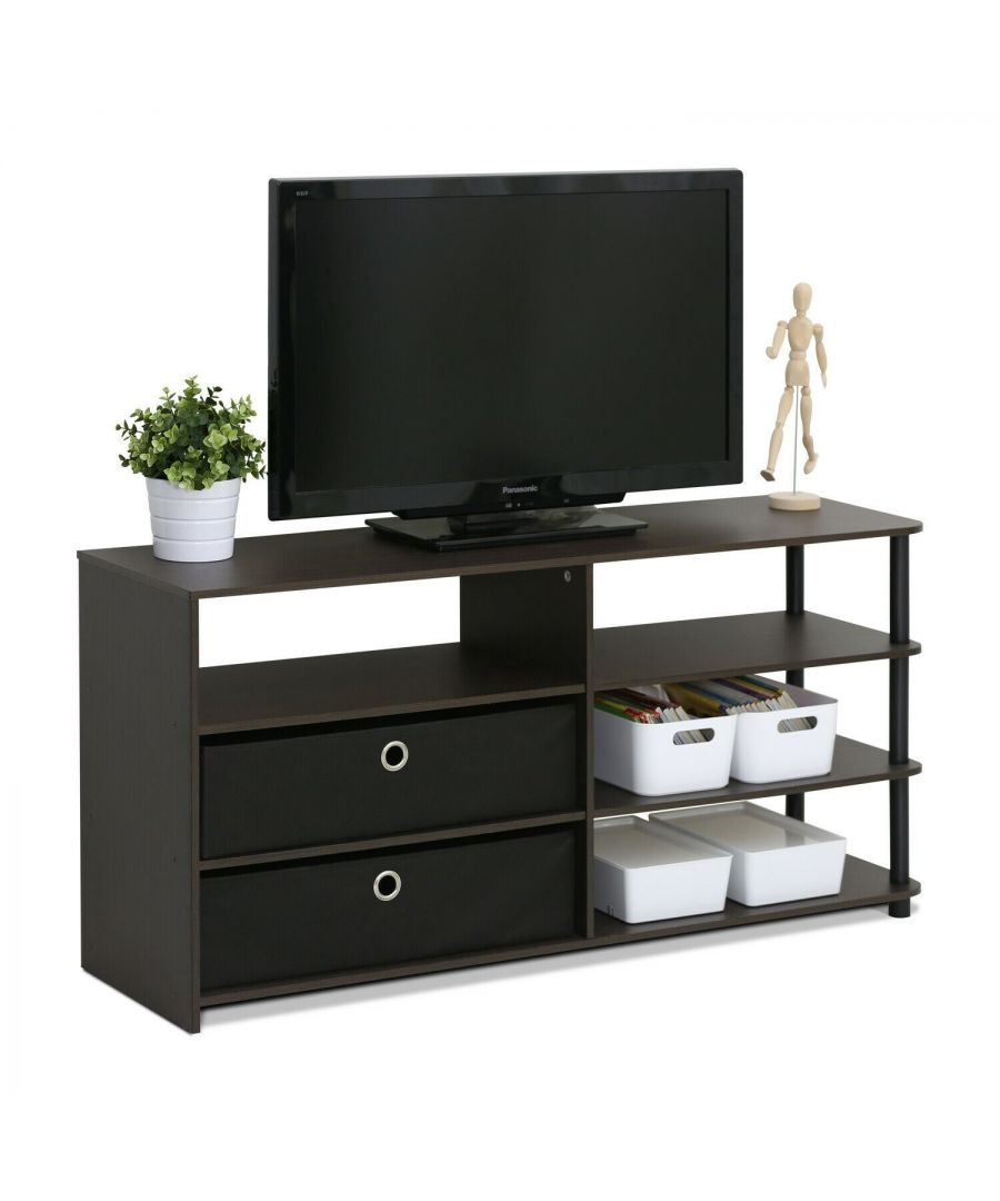 Image for Furinno JAYA Simple Design TV Stand for up to 50-Inch with Bins, Walnut, 15078WNBK