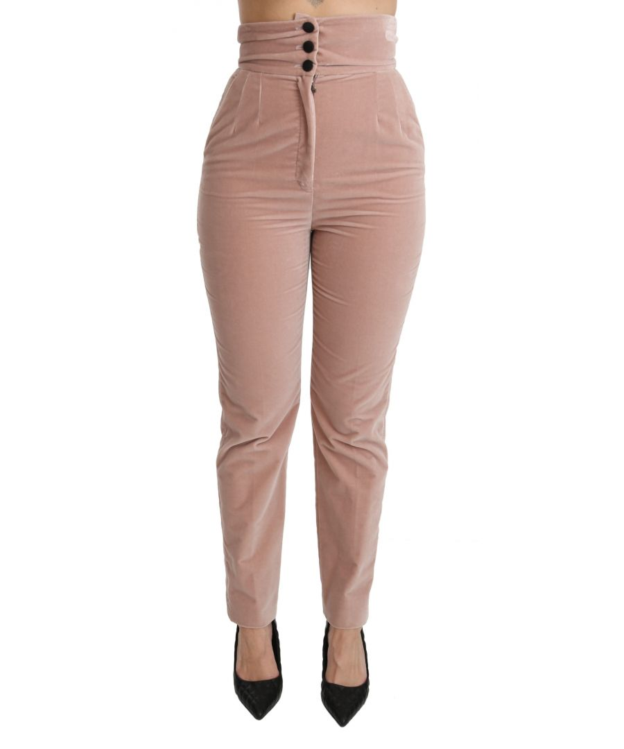 Image for Dolce & Gabbana Pink Slim Fit High Waist 100% Cotton Pants