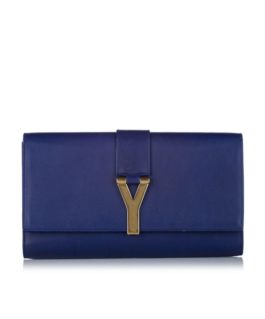 Image for Vintage YSL Chyc Ligne Leather Clutch Bag Blue