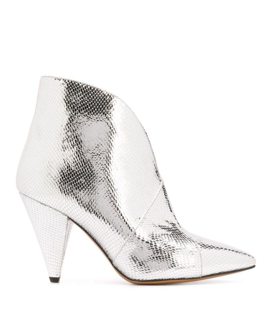Image for ISABEL MARANT WOMEN'S BO036620P030S08SI SILVER LEATHER ANKLE BOOTS
