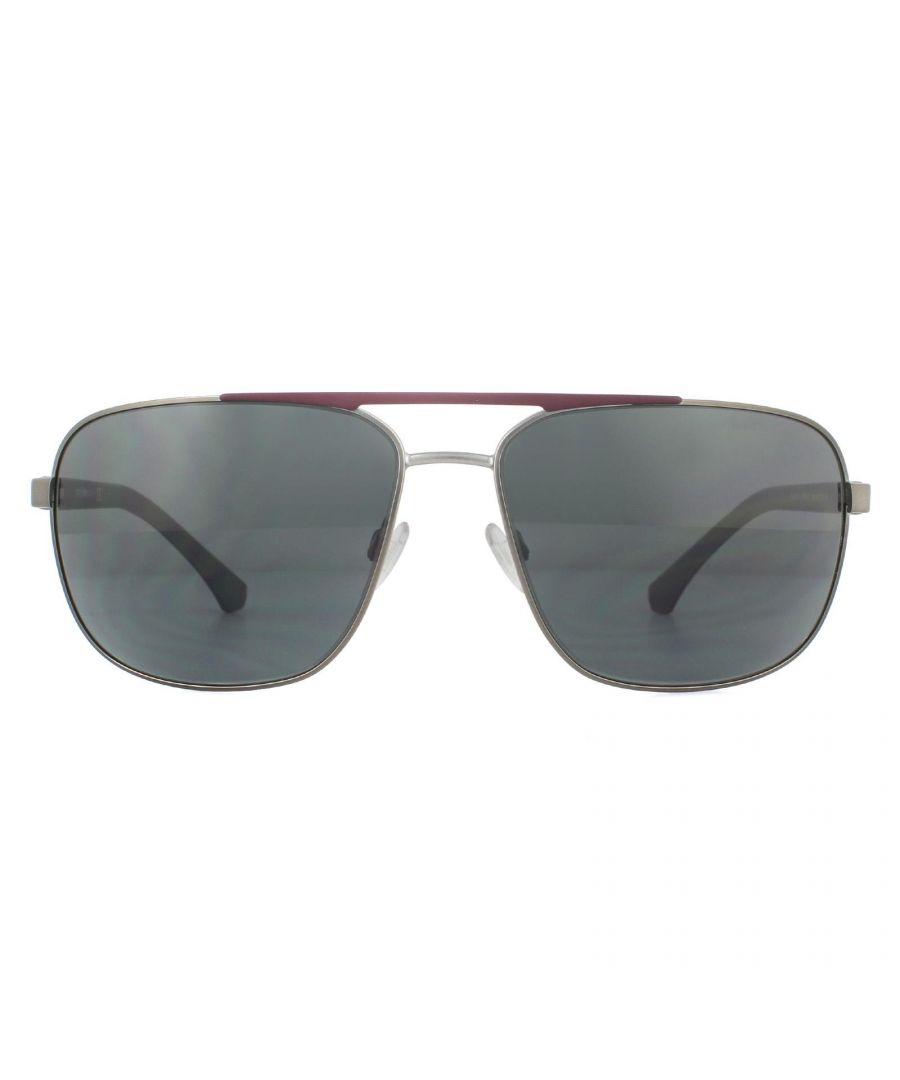 Image for Emporio Armani Sunglasses EA2084 300387 Matte Gunmetal and Matte Bordeaux Gray