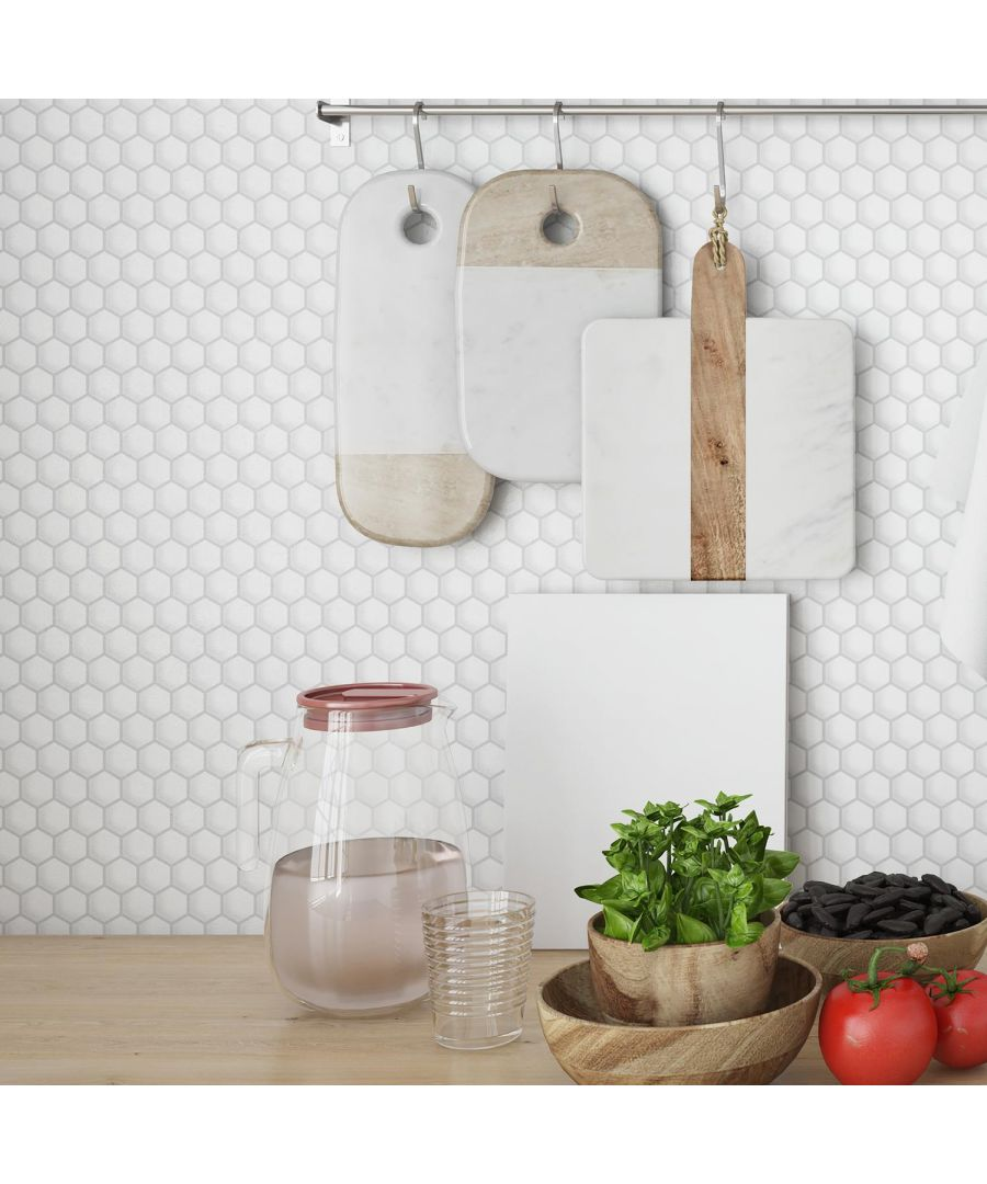 Image for Honey Mini Hexa White Glossy 3D Tile Stickers 28 x 20cm (11 x 8 in) 8pcs in a pack 3D Tiles Wall Stickers, Kitchen, Bathroom, Living room, peel and stick
