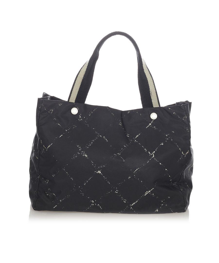 Image for Vintage Chanel Old Travel Line Nylon Tote Bag Black