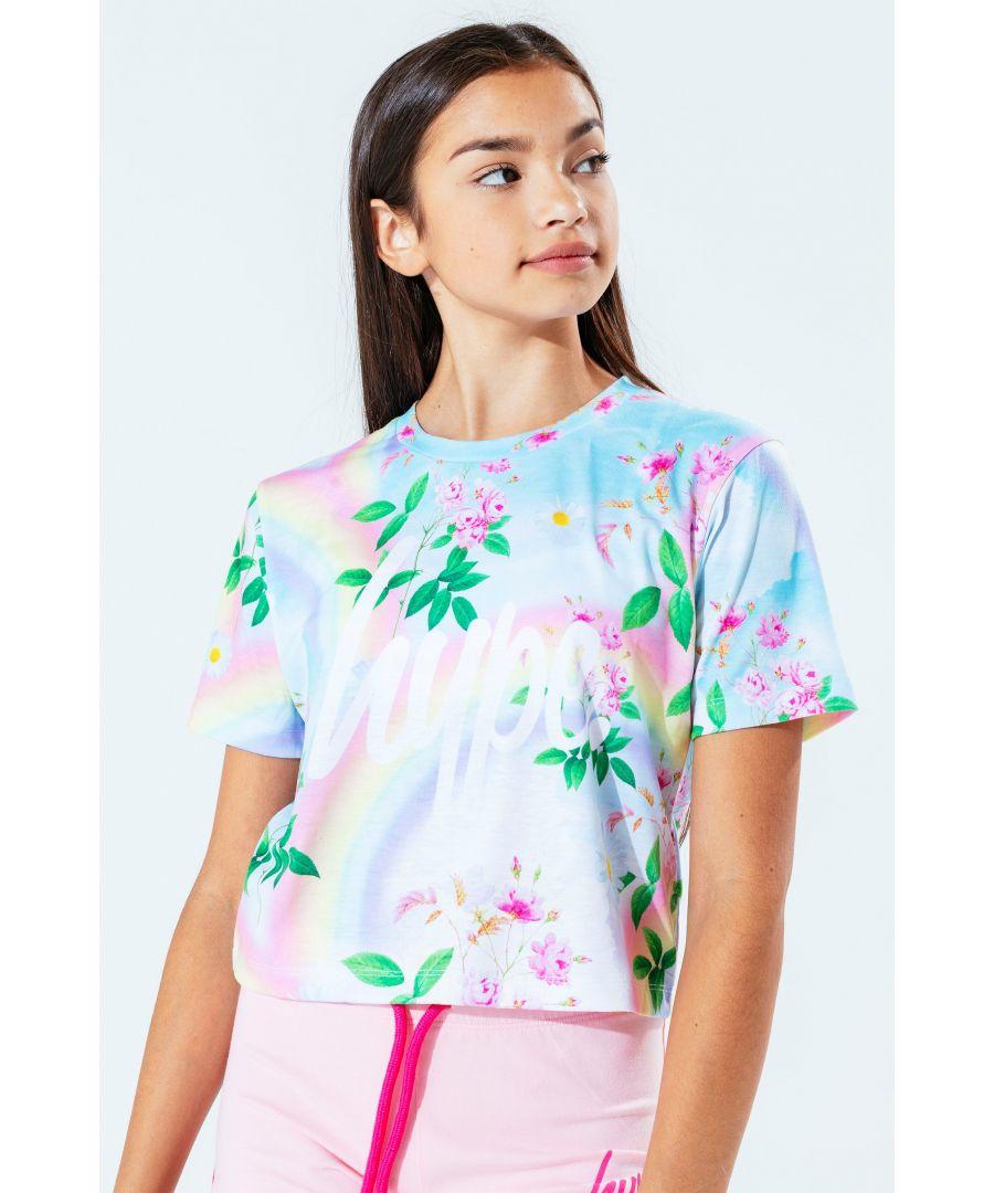Image for Hype Daisy Rainbow Kids Crop T-Shirt