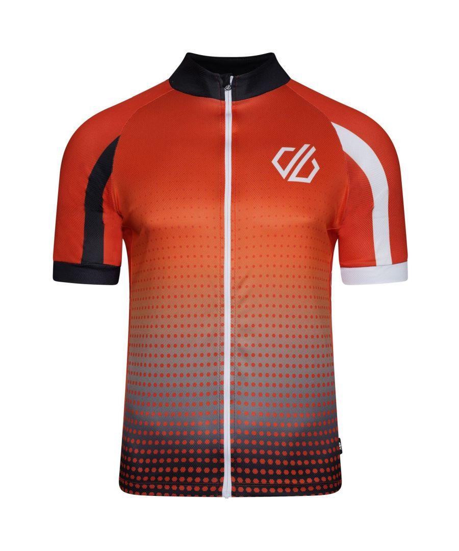 Image for Dare 2B Mens Virtuosity Short-Sleeved Jersey (Trail Blaze Red/White/Black Gradient)