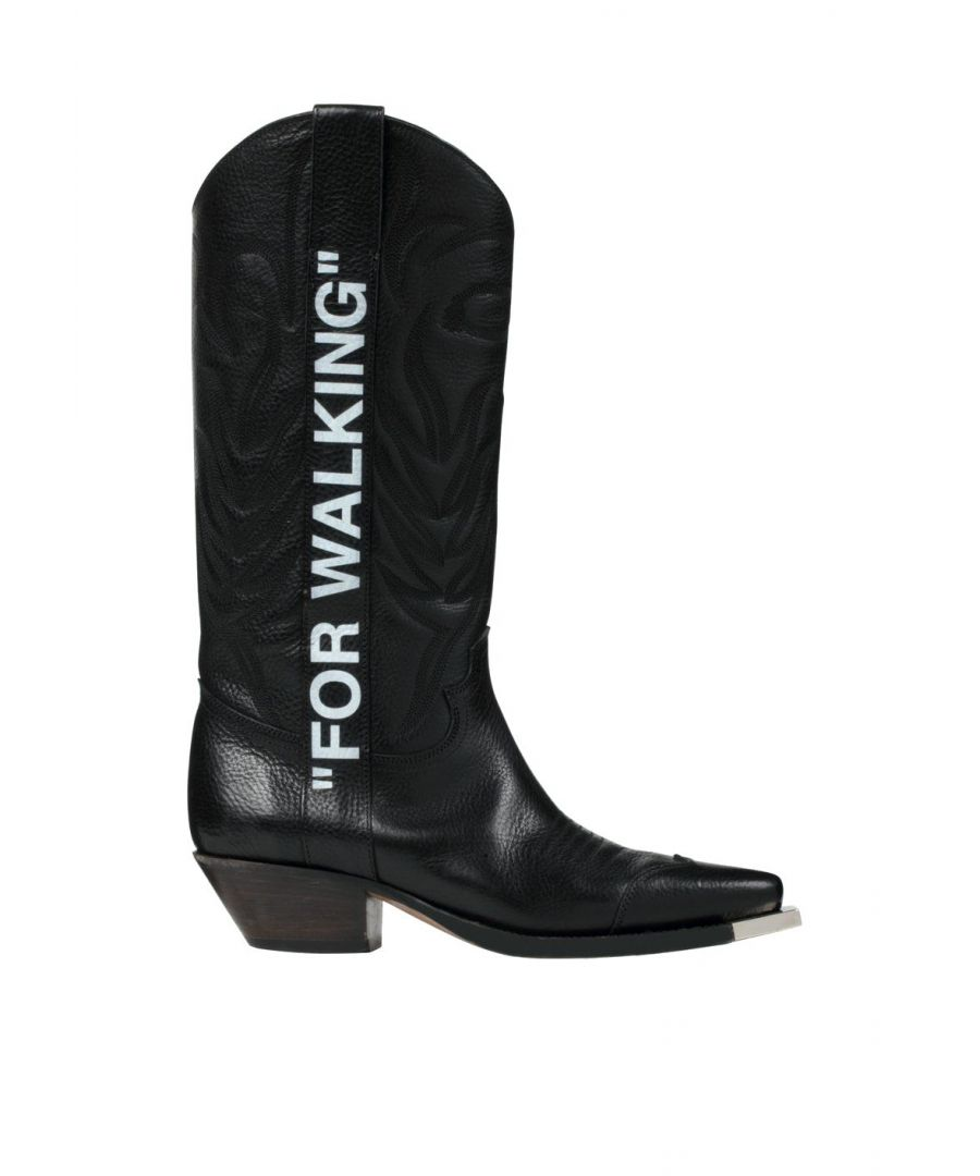Image for OFF-WHITE WOMEN'S OWIA124E19D681031001 BLACK LEATHER BOOTS