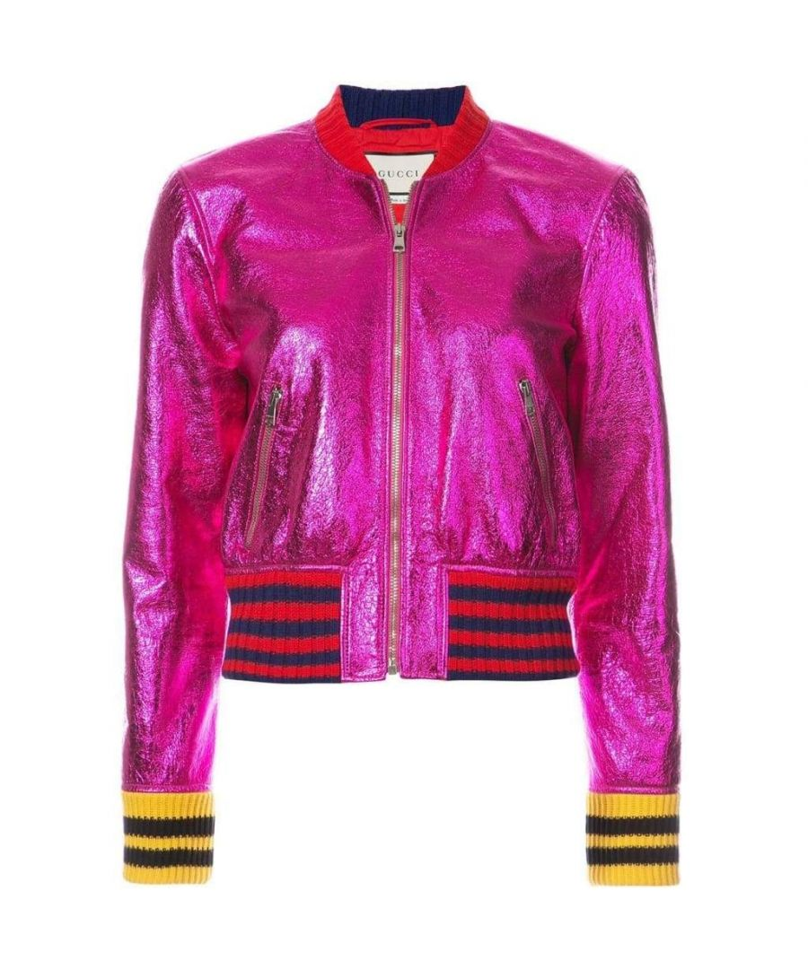 Image for Gucci Metallic Fuchsia Leather Bomber Jacket