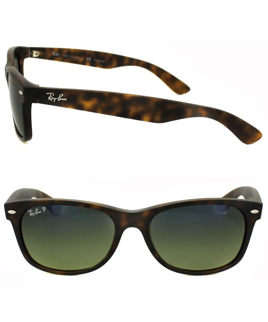 Image for Ray-Ban Sunglasses New Wayfarer 2132 894/76 Havana Blue Green Mirror Polarized 55mm