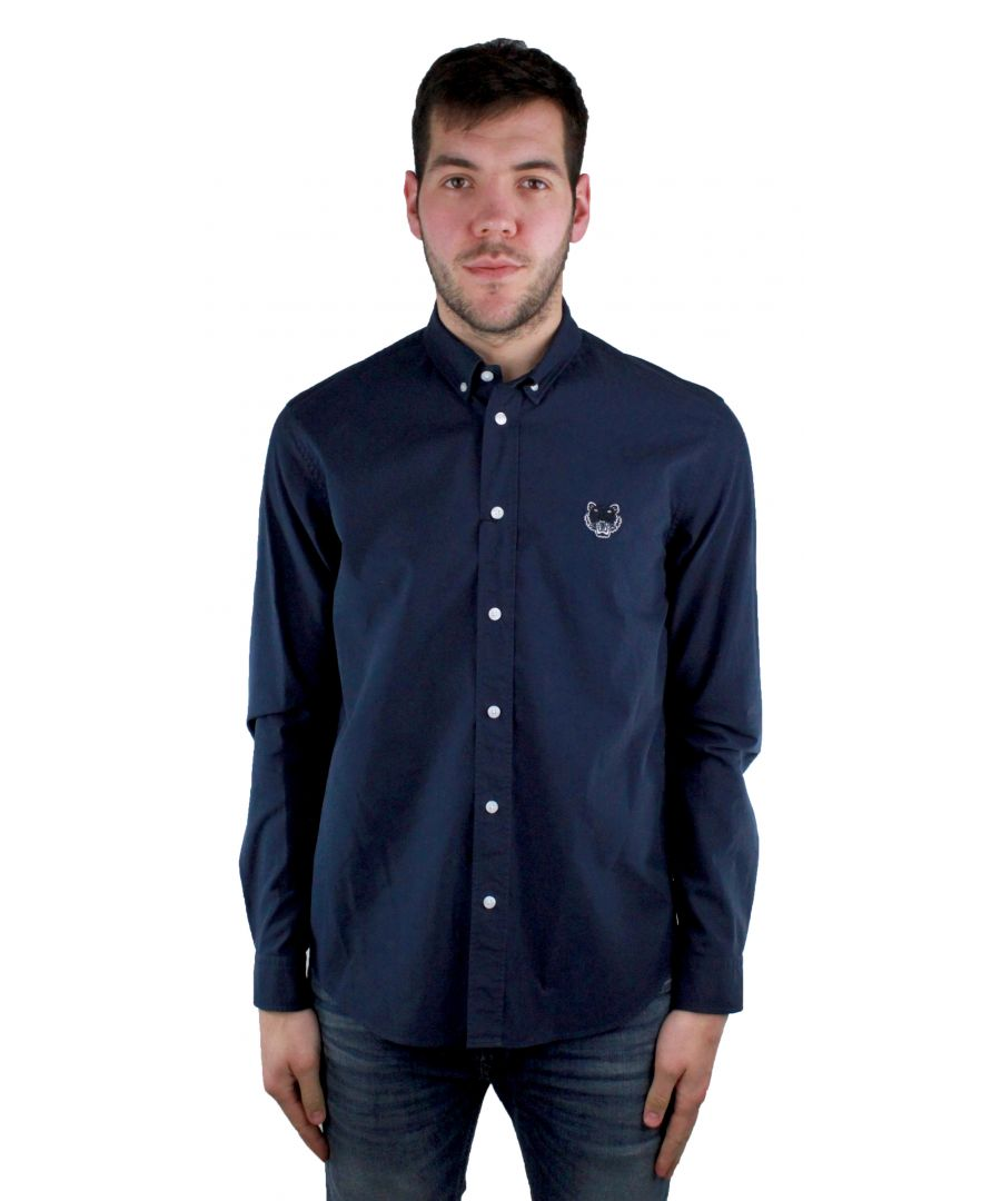 Image for Kenzo F855CH4001LB 76 Navy Blue Casual Shirt