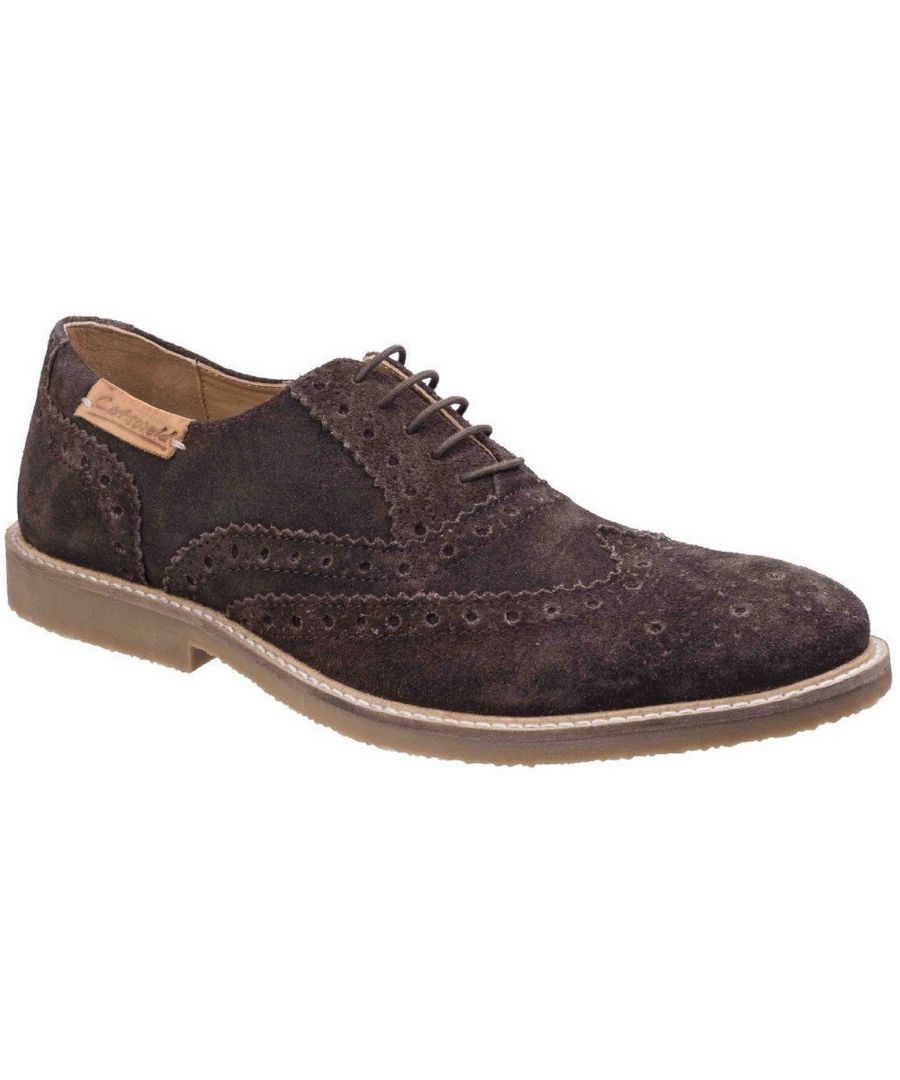 Image for Cotswold Mens Chatsworth Suede Oxford Brogue Lace Up Casual Shoes (Brown)