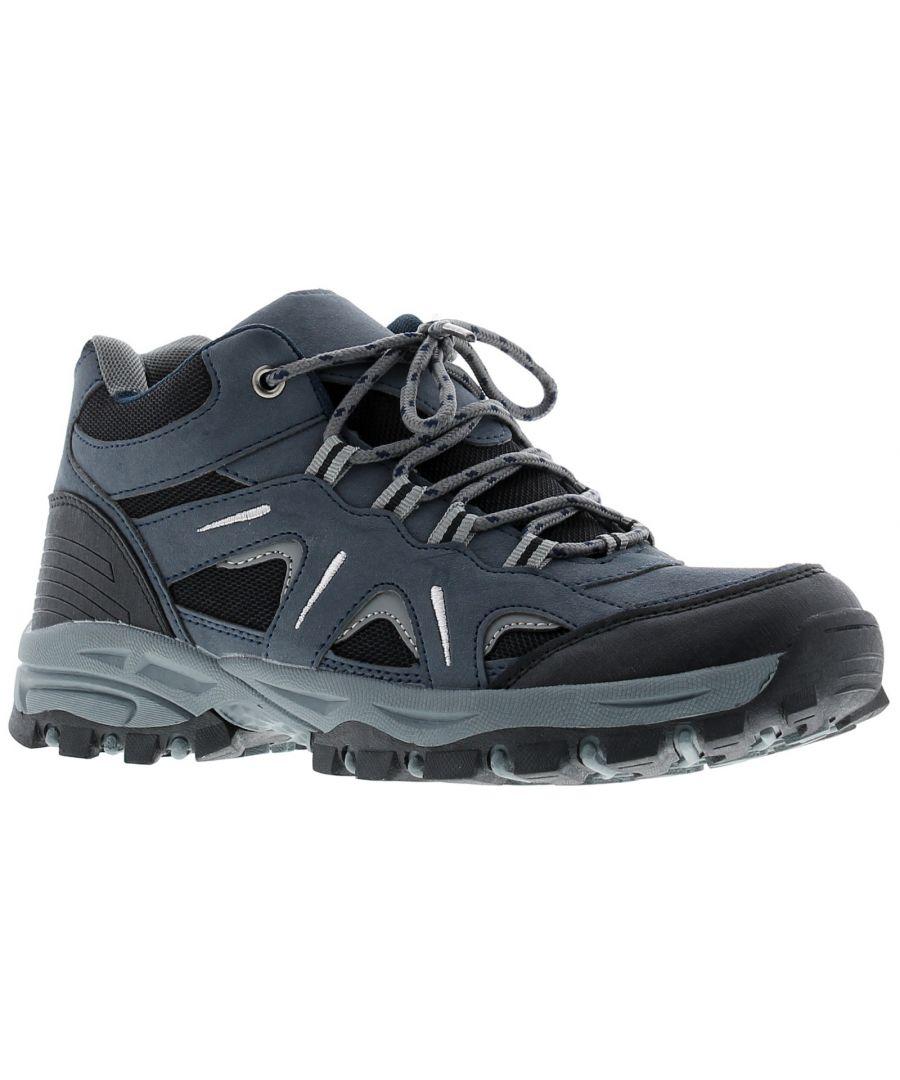 Image for Boys Kids Tie Up Hiker Outdoor Trek Trail Shoe